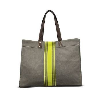 NEW! Carryall Tote - Mod Stripe Lime/ Ash