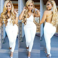 Women Summer Elegant Long Jumpsuits Fashion Casual Sexy Hollow Out white Full Length Rompers Women Bodycon Sexy Club Jumpsu