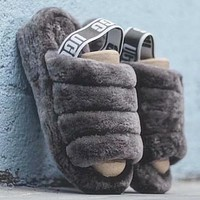UGG Hight Quality Women Trending Fur Flats Sandals Slipper Shoes