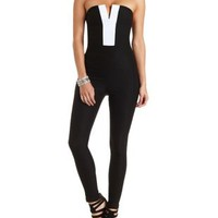 Tuxedo Strapless Jumpsuit by Charlotte Russe - Black/White