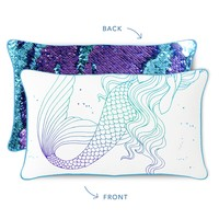 Mermaid Pillow with Turquoise & Purple Reversible Sequins