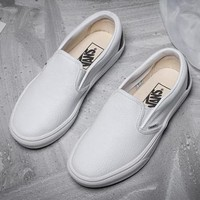 Vans Slip-On Leather Old Skool Flat Sneakers Sport Shoes