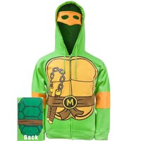 Teenage Mutant Ninja Turtles Michelangelo Costume Adult Hooded Sweatshirt (Adult Small)