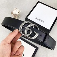 GUCCI New fashion snake letter buckle couple belt Black with box