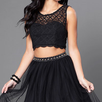 Black Two-Piece Lace-Top Homecoming Dress