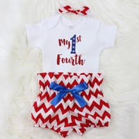 Girls 4th of July Outfit | My 1st Fourth Outfit with Red and White Chevron High Waisted Bloomers, knotted headband