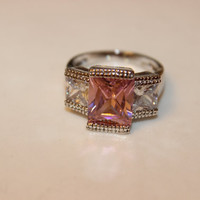 Mothers Day Sale  Pink Topaz Ring Size 8     White Topaz Ring    Sterling Silver