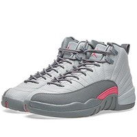 Nike Girls Air Jordan 12 Retro GG Wolf Grey/Vivid Pink Leather