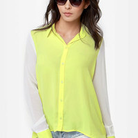 On Blockdown Chartreuse and Ivory Top