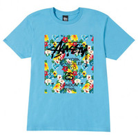 Stussy: WT Flower Block Shirt - Sky Blue