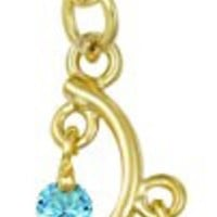 14kt Gold Plated Surgical Steel Fancy Aqua CZ Crystal Vine Drop Multi Gem Dangle Belly Button Ring