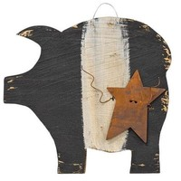 Black & White Hanging Pig with Rusty Star