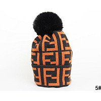 FENDI Autumn Winter Fashion Women Men Cute Warm Velvet Knitting Cap Hat 5#