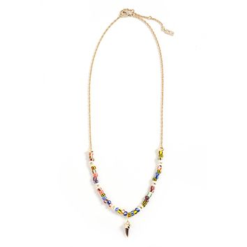 Avery Spear Pendant Necklace with White Pearl, Rainbow Glass & Horn I Akola