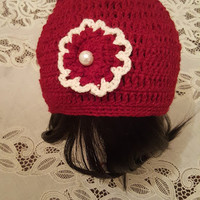 "L/XL Burgundy and White  ""Handmade"" Crochet Beanie. Ready to Ship"