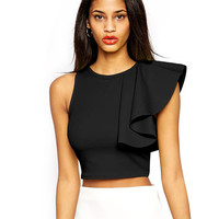 Black Sleeveless One Sided Ruffle Detailed Crop Top