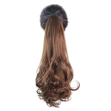 Wig Horsetail Lace-up Long Curled Hair    light brown 141-2M30#