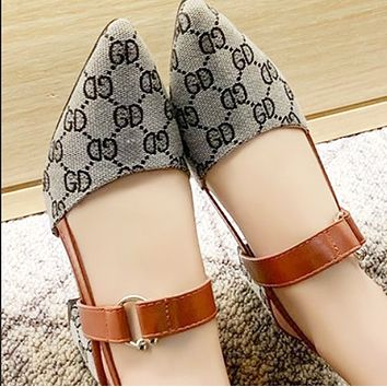 New style hot fashion plaid high thick heel all-match single shoes