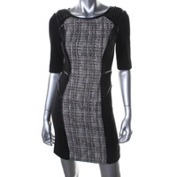 Milly Womens Tweed Embellished Wear to Work Dress