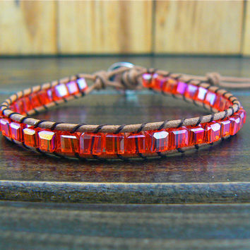 1 Wrap Red Crstal  Cube Beads Leather Charm Bracelet