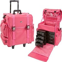 Seya 19.5 Inch Soft High Quality Nylon Professional Artist Rolling Wheeled Trolley Makeup Train Case Cosmetic Organizer W/ 8 Drawers (Pink Leather)