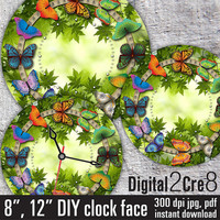 "Butterfly Large Clock Face - 12"" and 8"" Digital Downloads - DIY - Printable Image - Iron On Transfer - Wall Decor - Crafts - jpg and pdf"