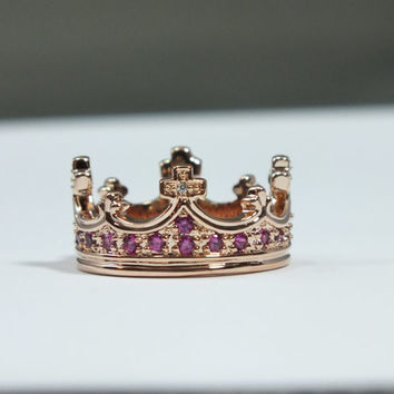 Rose Gold Crown Disney Princess Ring Swarovski Crystals Ruby Beauty Pageant