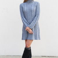 Cable Knit Sweater Dress {Gray}