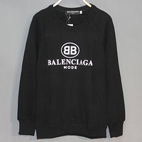 Balenciaga classic double B printed pullover round neck long sleeve sweater black