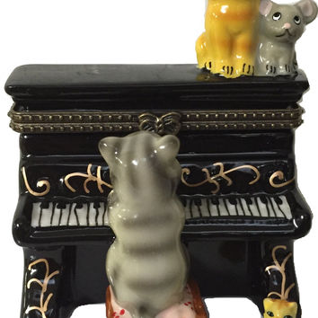 Jewelry Boxes Cat Playing Piano With Cat and Mouse