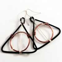 Potter Magic: Earrings various shapes Copper Wire Silver And Black Copper Earrings Dangle Handmade
