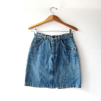 Vintage denim skirt. Mini jean skirt. Worn in 90s jean skirt. High waist denim skirt.