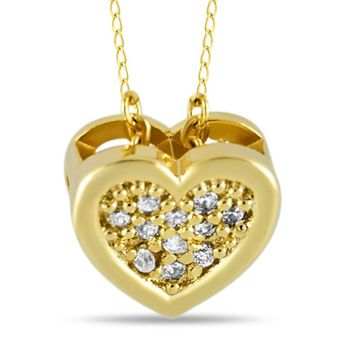 Tiny Heart Necklace, Gold Plated Necklace, CZ Heart Charm Modern Necklace