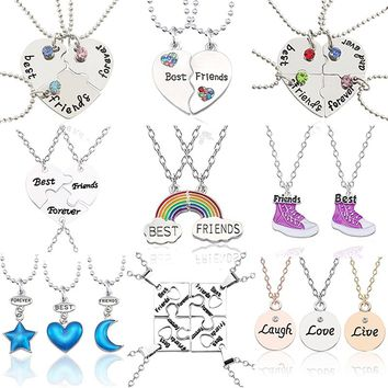 Best Friends Pendant Necklace Women Mixed Styles Puzzle Love Heart Star Moon Crown Necklaces Pendants Student Friendship Jewelry