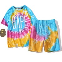 BAPE shark head color tie-dye gradient shorts rainbow T-shirt