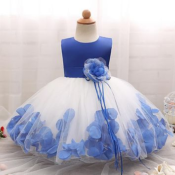 Flower Girl Dress For Wedding Toddler Baptism Clothes for Girls Baby Evening Outfits Blue Dress