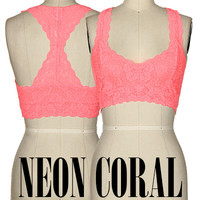Lace Racerback Bralette in Neon Coral T5509-NEONCORAL
