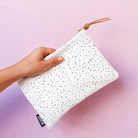 Spots Fabric & Leather Pouch - Leather clutch, modern pattern small pouch.