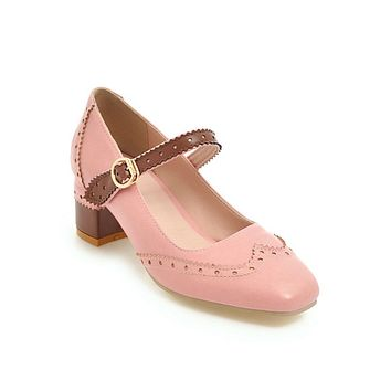 Mary Janes Mid Heel Pumps Shoes 2286