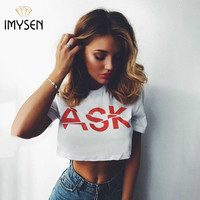 Oversize Shirts European Style Sexy O-Neck White t-shirt Women Tops Short Sleeve Crop Top Tees Girl t shirt Female Letter Print