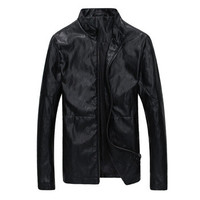 Men Leather Pu Jackets and Coats Men's Casual Slim Fit Large Size Jackets Coats Cardigans Outwear BL