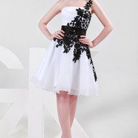White and Black One Shoulder Lace Chiffon Homecoming Dress