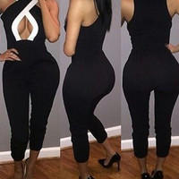 Fashion solid color bodycon Jumpsuits