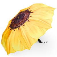 Plemo Folding Umbrella With Anti-Slip Rubberized Grip, Windproof, Automatic and Compact for Business and Travel (Yellow Sunflower)