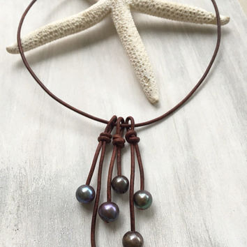 ON SALE ** Leather freshwater pearls tassel necklace, leather and pearls,freshwater pearl necklace,pearls and leather, pearls on leather