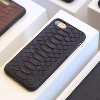 Natural Real Genuine Leather Cover Case For iPhone 7 6 6S Plus 5 SE Case 3D Python Skin Snake Design custom name Phone Case
