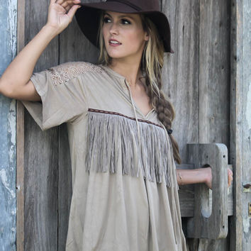 Kalahari Desert Tan Suede Oversized Fringe Top With Lace Shoulders