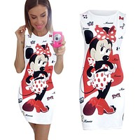 2017 fashion Minnie Mouse Women Dress Summer Sexy Pencil Dresses Bodycon Sheath Vintage Fitness Vestidos Print Cute Women Dress
