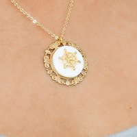 Full Steer Ahead Ship Steering Wheel Gold Charm Necklace