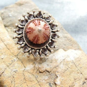 Sea Urchin Collection  Pink Doily Ring by staroftheeast on Etsy